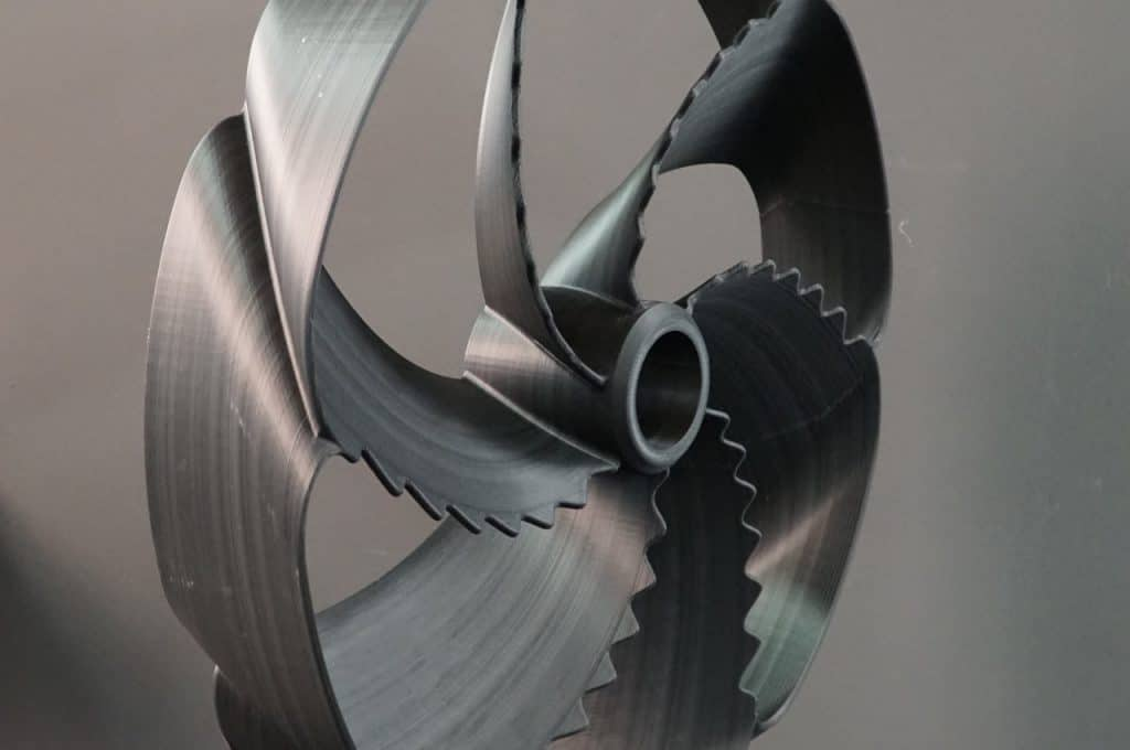 Black Propeller Detail, printed in one of BigRep's filaments the PRO HT