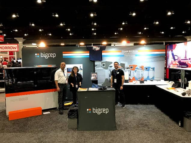 The BigRep America booth at the SolidWorks World 2018 show, Los Angeles