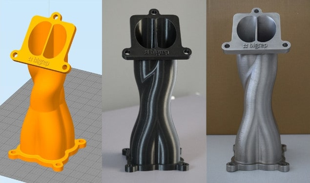 Exhaust manifold: software render, 3D-printed polymer, and finished nickel-plated part