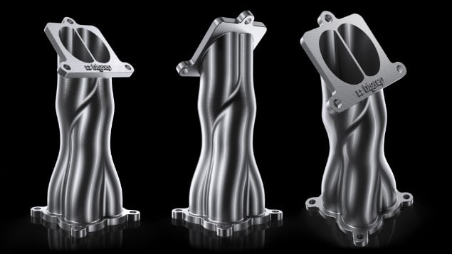 Three views of a complex exhaust manifold as 3D printed prototypes