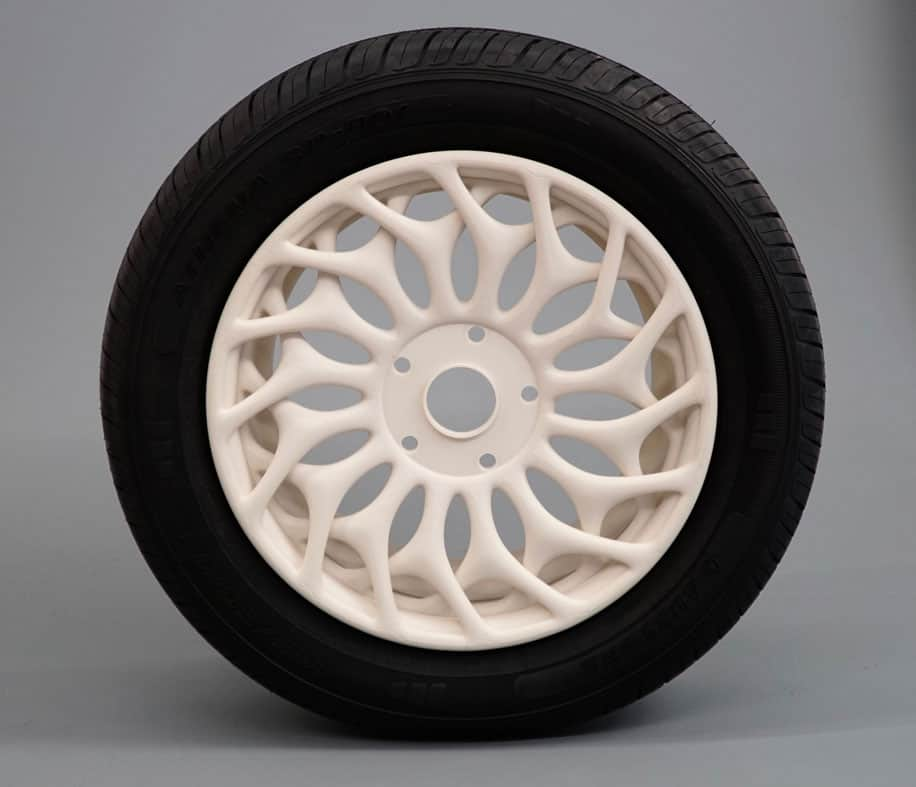 Large-scale 3D printing enabled the complex geometry of this BigRep wheel rim design.